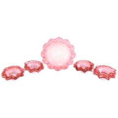 Handblown Cranberry Shaded to Pink Flower Shaped Dessert Berry Set of 13 Pieces