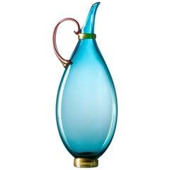 Handblown Glass Pitcher, Bright Turquoise Vase, Size Medium, by Vetro Vero