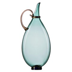 Handblown Glass Pitcher, Colorful Aqua with Gold, Made-to-Order by Vetro Vero