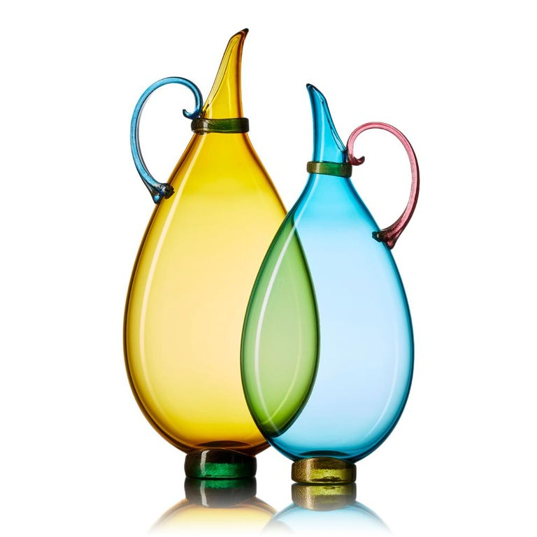 Hand-Crafted Hand Blown Glass Pitcher, Vibrant Aquamarine Vessel, Size Tall by Vetro Vero For Sale