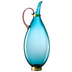 Hand Blown Glass Pitcher, Vibrant Aquamarine Vessel, Size Tall by Vetro Vero