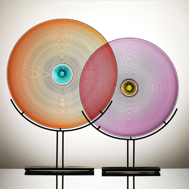 Hand-Crafted Hand Blown Glass Sculpture, Amethyst Disc, One of a Kind, by Vetro Vero For Sale