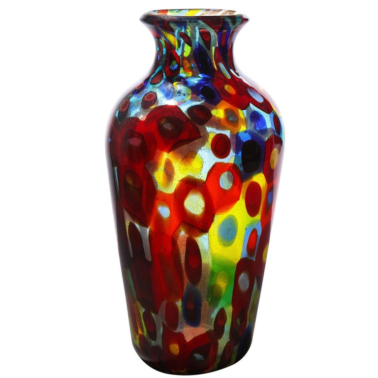 Handblown glass vase composed of large bi-color murrhines and gold foil by Arte Vetraria Muranese (A.V.E.M.), Murano Italy 1950's. The colors of the murrhines and the gold foil make this piece jewel-like.  Provenance: Evan Lobel purchased this