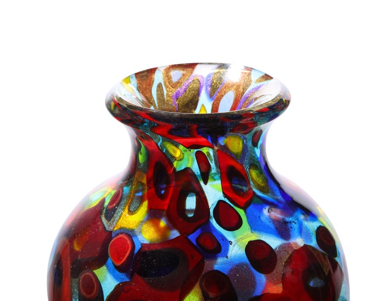 Mid-Century Modern Handblown Glass Vase with Gold Foil and Large Murrhines by A.V.E.M, 1950s For Sale