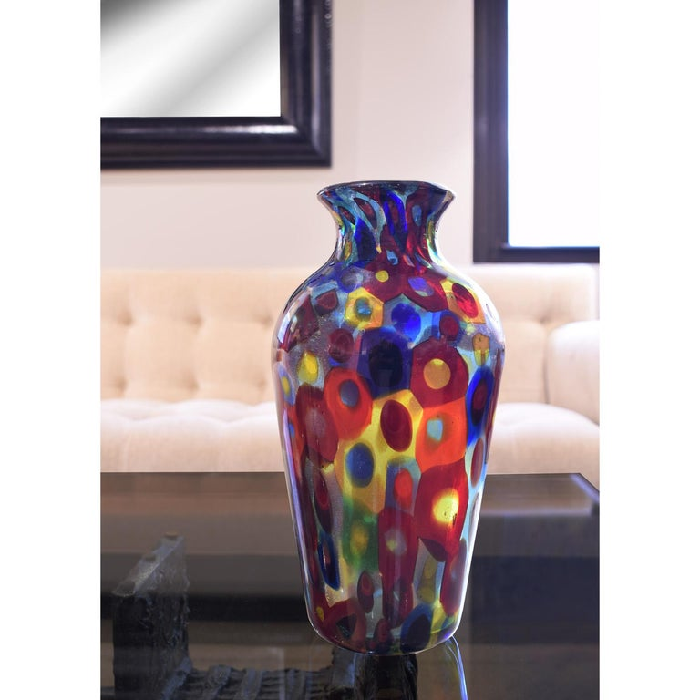 Mid-20th Century Handblown Glass Vase with Gold Foil and Large Murrhines by A.V.E.M, 1950s For Sale