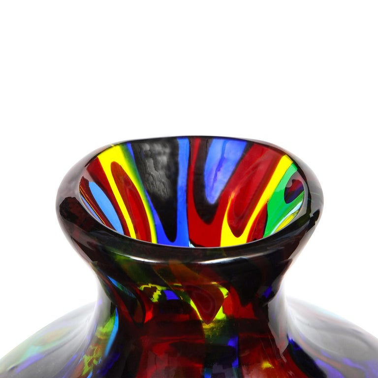 Mid-Century Modern Handblown Glass Vase with Large Murrhines by A.V.E.M, 1950s For Sale