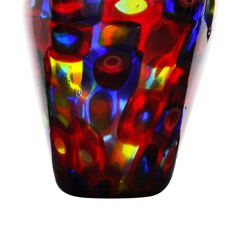 Italian Handblown Glass Vase with Large Murrhines by A.V.E.M, 1950s For Sale