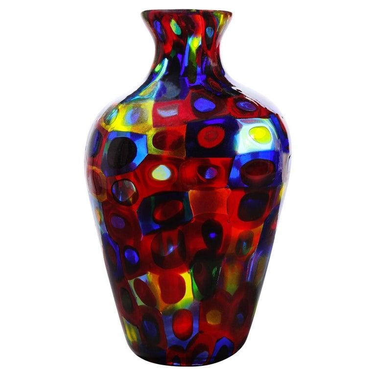 Handblown Glass Vase with Large Murrhines by A.V.E.M, 1950s For Sale