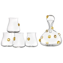 Hand Blown Glass Wine Decanter and Four Glasses with Gold Gift Set by Vetro Vero
