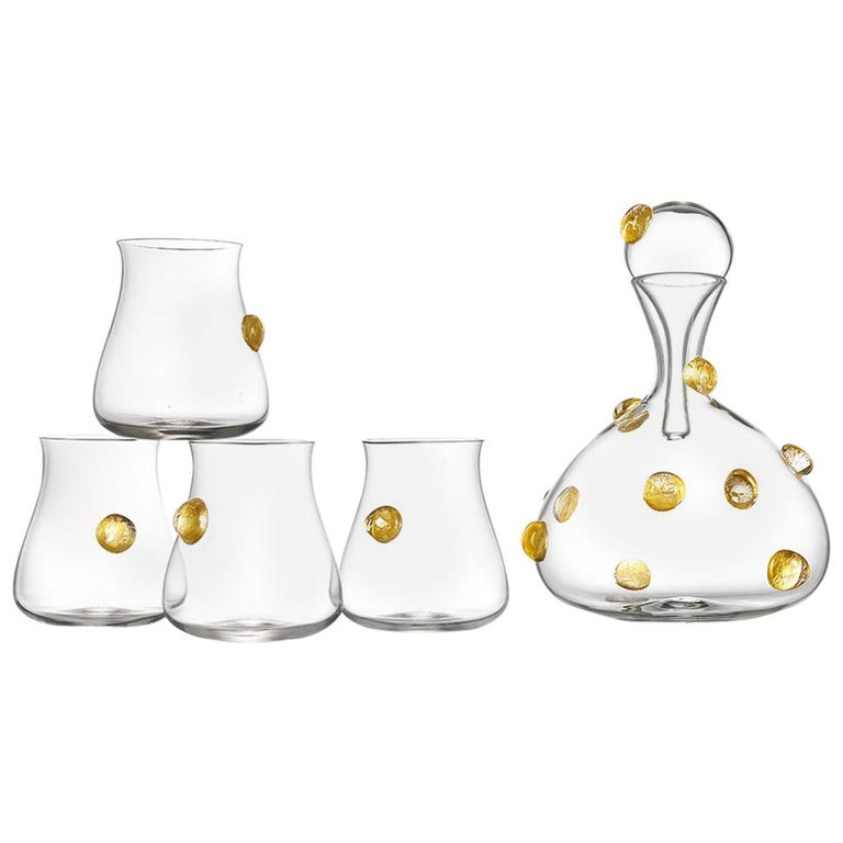 Hand Blown Glass Wine Decanter and Four Glasses with Gold Gift Set by Vetro Vero For Sale