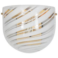 Handblown Mid-Century Modern White and Clear Swirl Murano Glass Wall Sconce