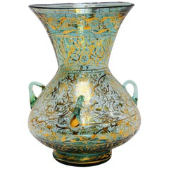 Handblown Mosque Glass Lamp in Mameluke Style Gilded with Arabic Calligraphy