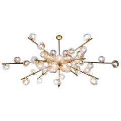 "Handblown Murano Glass and Brass ""Constellation"" Chandelier by High Style Deco"