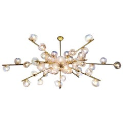 "Hand Blown Murano Glass and Brass ""Constellation"" Chandelier by High Style Deco"
