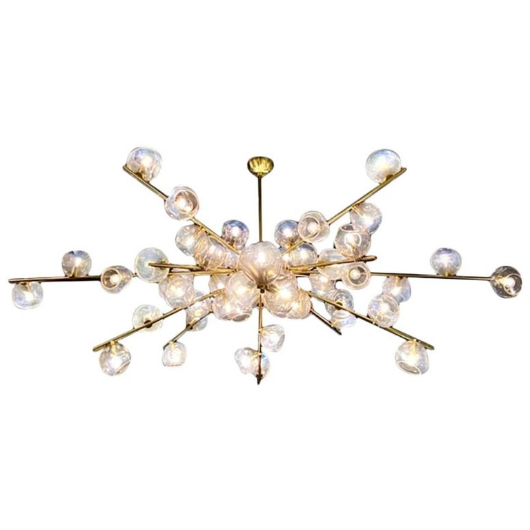"Hand Blown Murano Glass and Brass ""Constellation"" Chandelier by High Style Deco For Sale"
