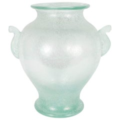 Handblown Murano Glass Vase With Scrolled Arms in the Manner of Karl Springer