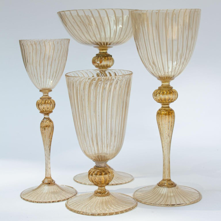 Art Deco Handblown Murano Stemware Service in Lattice Pattern for Eight Persons For Sale