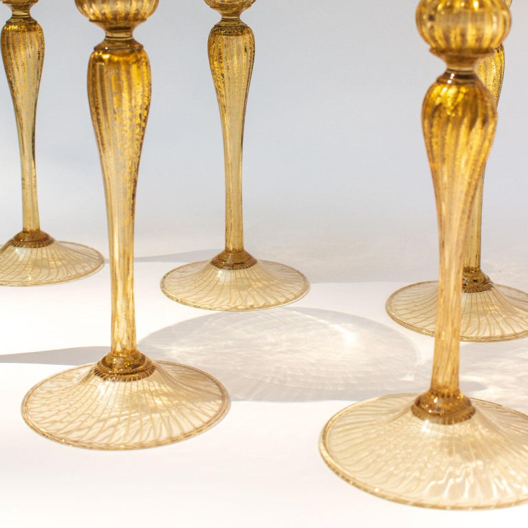 Mid-20th Century Handblown Murano Stemware Service in Lattice Pattern for Eight Persons For Sale