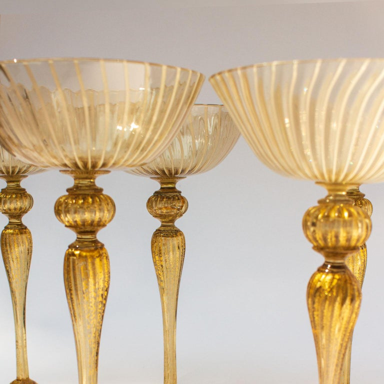 Blown Glass Handblown Murano Stemware Service in Lattice Pattern for Eight Persons For Sale