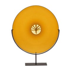 "Handblown Murano's Yellow Glass Plate ""Autunno"" by Laura de Santillana, Venini"
