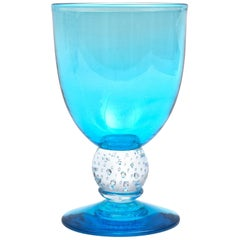 Handblown Turquoise Glass Goblet with Controlled Bubble Base, Large Quantities