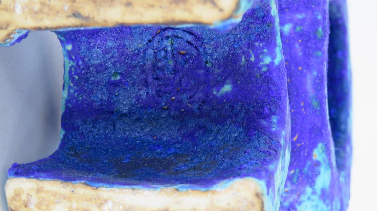 Handbuilt Ceramic Sculpture in Algea Blue #1 For Sale 3