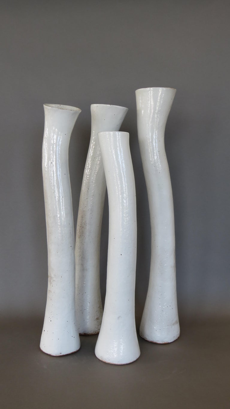 Tall Arcing Ceramic Vase, White Glaze with Brown Edge, Hand Built For Sale 4