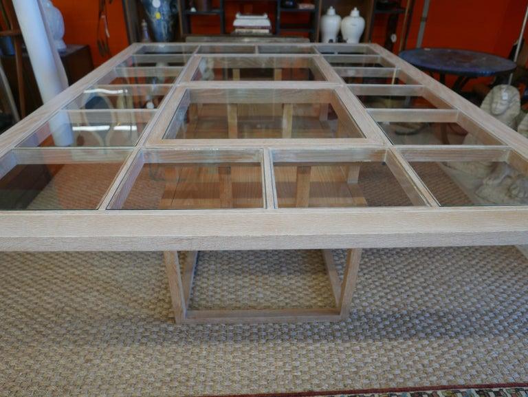 Mid-Century Modern Handbuilt Custom Cerused Oak and Glass Dining Table