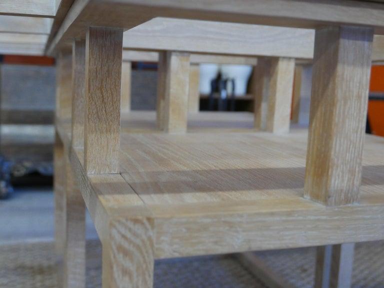 American Handbuilt Custom Cerused Oak and Glass Dining Table
