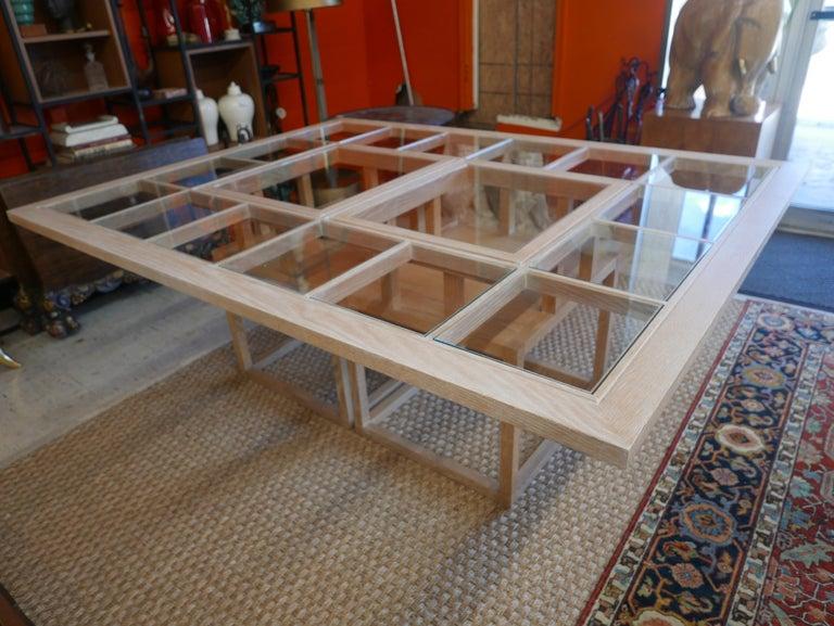 Handbuilt Custom Cerused Oak and Glass Dining Table In Good Condition In Kilmarnock, VA
