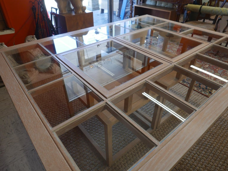 20th Century Handbuilt Custom Cerused Oak and Glass Dining Table