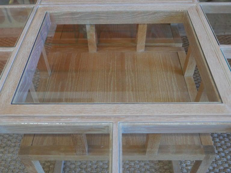 Handbuilt Custom Cerused Oak and Glass Dining Table 2
