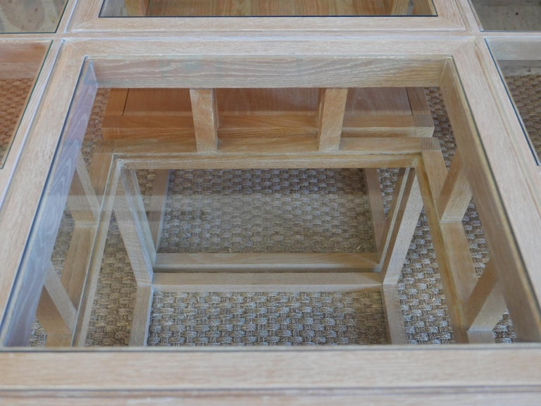 Handbuilt Custom Cerused Oak and Glass Dining Table 3
