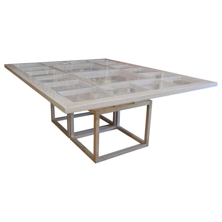 Handbuilt Custom Cerused Oak and Glass Dining Table