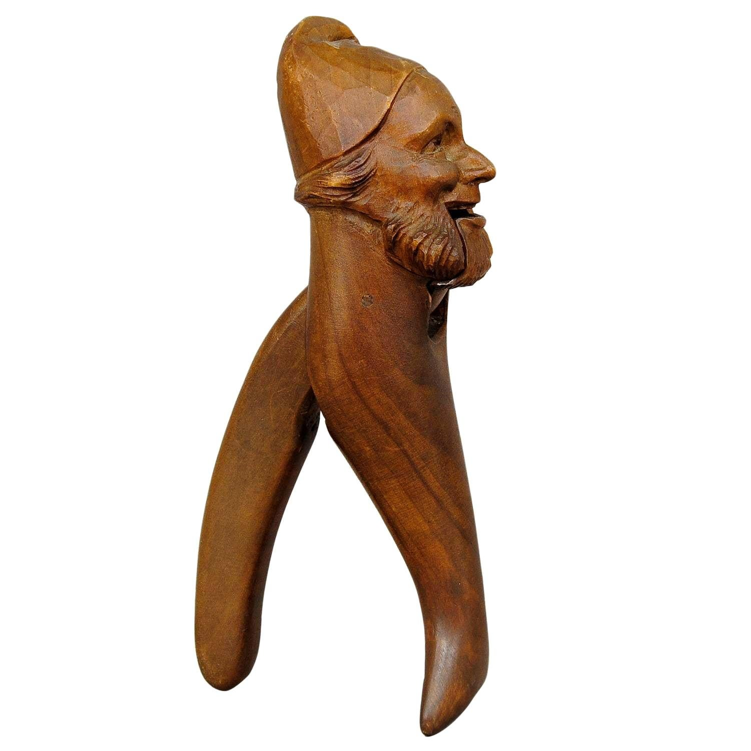 Hand Carved Black Forest Wood Dwarf Nutcracker, 1900