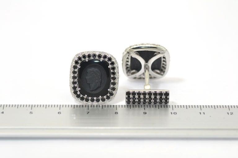 Round Cut Margherita Burgener  Onyx Diamond Spinel Tuxedo  Studs  Cufflinks For Sale