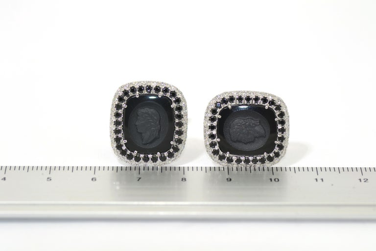 Margherita Burgener  Onyx Diamond Spinel Tuxedo  Studs  Cufflinks For Sale 1