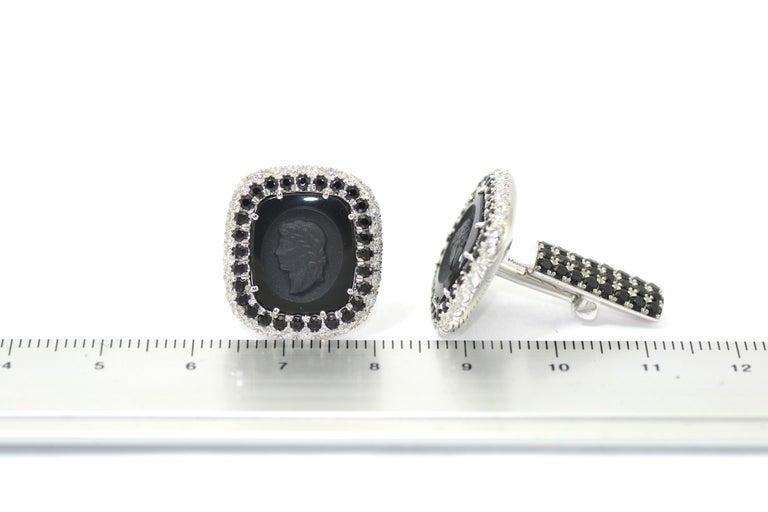 Margherita Burgener  Onyx Diamond Spinel Tuxedo  Studs  Cufflinks For Sale 2
