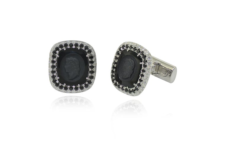 Unique, hancrafted in Italy in Margherita Burgener family workshop, cufflinks and studs feature a handcarved onyx plaque showing  a Roman face profile.  The set is composed by two cufflinks and 4 studs  18 Kt white gold grams 24.55  n. 168 colorless