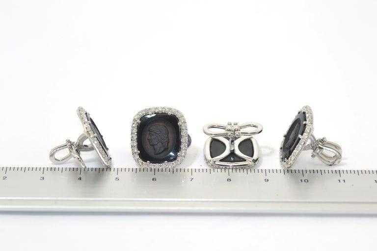 Women's or Men's Hand Carved Onyx Diamond Spinel Dress Set Studs Cufflinks For Sale