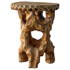 Hand Carved Sculptural Stool Stained and Lacquered Wood, Sweden Mid-20th Century