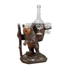 Hand Carved Wood Bear Liqueur Stand Swiss, 1920