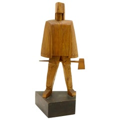 Handcarved Wooden Sculpture in Cubist Style