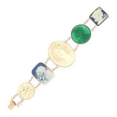 Handcraft 14 Karat Yellow Gold Agate Retro Bracelet