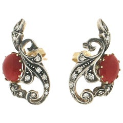 Handcraft 14 Karat Yellow Gold and Silver Diamonds Coral Stud Earrings