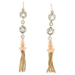 Handcraft 14 Karat Yellow Gold and Silver Diamonds Dangle Earrings
