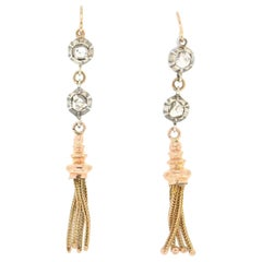 Handcraft 14 Karat Yellow Gold and Silver Diamonds Dangle Earrings