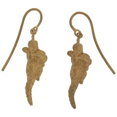 Handcraft 14 Karat Yellow Gold Angel Drop Earrings