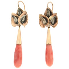 Handcraft 14 Karat Yellow Gold Coral Drop Earrings