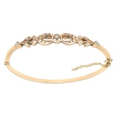 Handcraft 14 Karat Yellow Gold Diamonds Bangle Bracelet